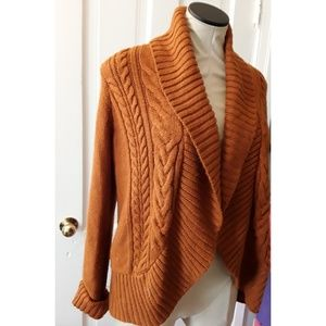 Mossimo Burnt Orange Cable Knit Cardigan
